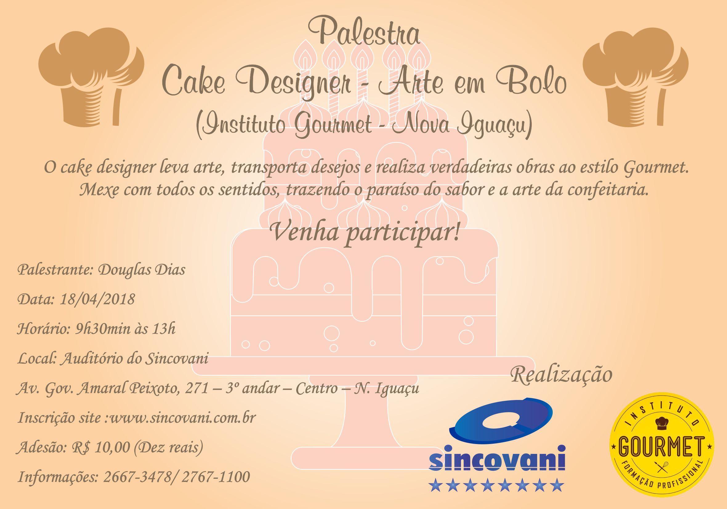 Evento: Palestra – Cake Designer 18/04/2018